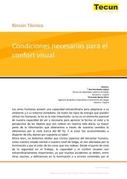 Condiciones necesarias para el confort visual