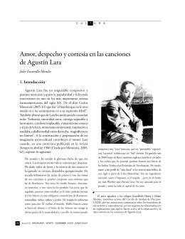 Amor, despecho y cortesía en las canciones de Agustín Lara. Pág