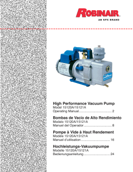 High Performance Vacuum Pump Bombas de Vacío de