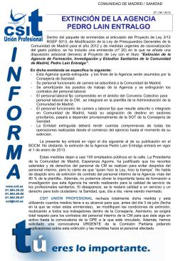 extinción de la Agencia Pedro Laín Entralgo