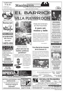 Septiembre 2007 - El Barrio Pueyrredon