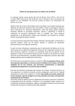 Síntesis de la propuesta para una salida al mar de Bolivia La