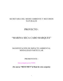 "PROYECTO : ""MARINA SECA CABO MARQUES"""