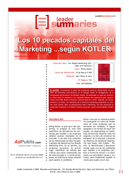 Los 10 Pecados Capitales del Marketing según Kotler en