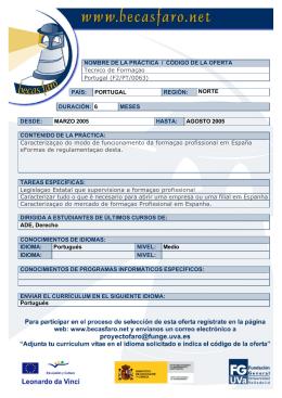 NOMBRE DE LA PRÁCTICA / CÓDIGO DE LA OFERTA Tecnico de