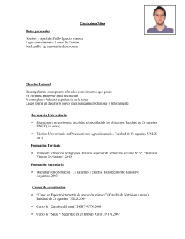 Ver Curriculum - Facultad de Ciencias Agrarias
