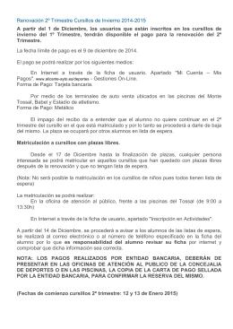 Calendario y precios 2º Trimestre en PDF