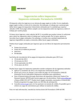 Sugerencias sobre impuestos: Impuesto estimado: Formulario 1040ES