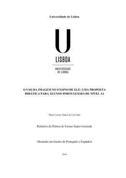 Universidade de Lisboa O USO DA IMAGEM NO ENSINO DE ELE
