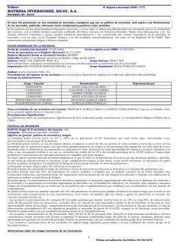 ROTRESA INVERSIONES, SICAV, S.A.