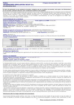 inversiones singladura sicav sa - Mercados y Gestión de Valores AV