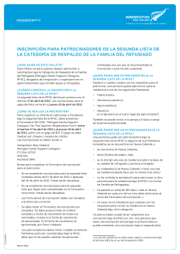 RFSC Factsheet Spanish - Immigration New Zealand