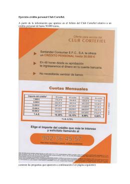 Ejercicio crédito personal Club Cortefiel. A partir de la información