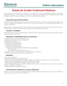 Folleto Informativo Tarjeta de Crédito Tradicional Platinum