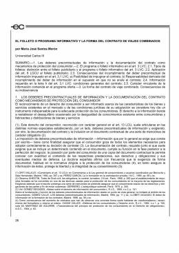 El folleto o programa informativo y la forma del contrato de viajes