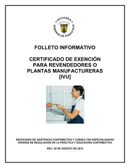 folleto informativo certificado de exención para revendedores o