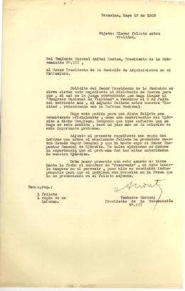 nruselas, Mayo le de 1929 Objeto: `levar folleto sobre vialidad