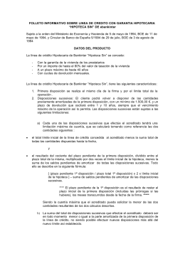 FOLLETO INFORMATIVO SOBRE LINEA DE CREDITO