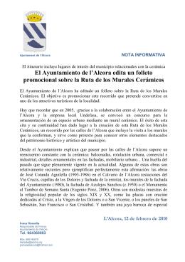 El Ayuntamiento de l`Alcora edita un folleto promocional sobre la