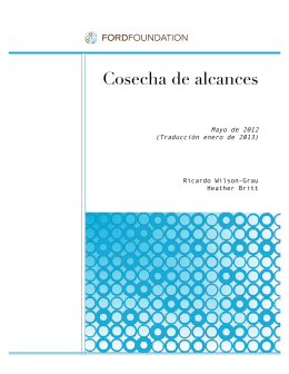 Cosecha de Alcances, folleto, enero de 2013