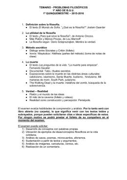 TEMARIO - PROBLEMAS FILOSÓFICOS 1º AÑO DE B.G.U. 1º