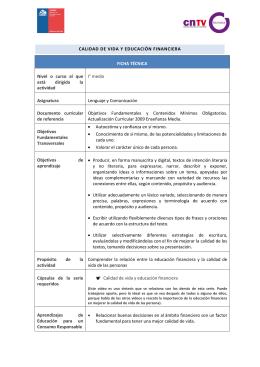 CALIDAD DE VIDA Y EDUCACIÓN FINANCIERA FICHA