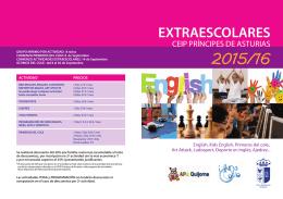 folleto de actividades extra escolar