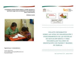 folleto informativo sobre las guías de organización y funcionamiento