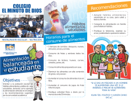 FOLLETO NUTRICIONISTA ESCOLAR