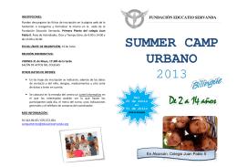 Folleto para familia Summer Camp 2013