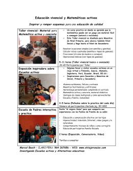 Folleto - Cursos: Educación vivencial y Matemáticas activas