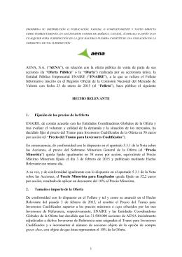 Hecho Relavante Precio y Prorrateo OPV AENA