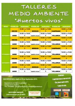 CARTEL y folleto HUERTOS VIVOS 2015 PARA PEQUES
