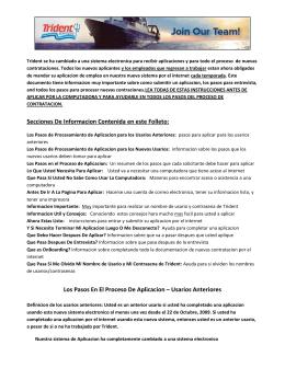 Secciones De Informacion Contenida en este Folleto: Los Pasos En