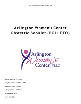 Arlington Women`s Center Obstetric Booklet (FOLLETO)