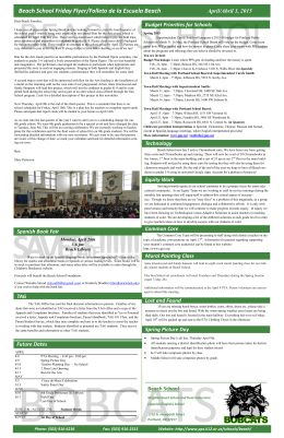 Beach School Friday Flyer/Folleto de la Escuela Beach April/Abril 3