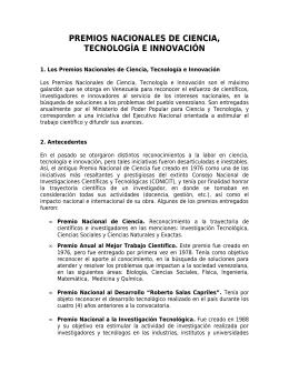 Esquema del folleto sobre Premios Nacionales de Ciencia
