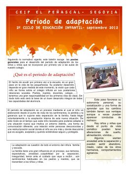 folleto informativo del periodo de adaptación