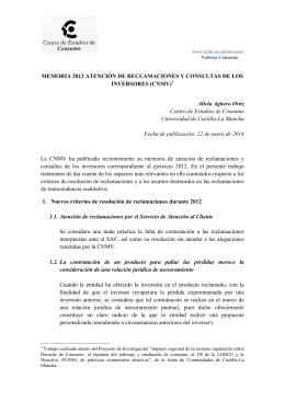 MEMORIA 2012 ATENCIÓN DE RECLAMACIONES Y