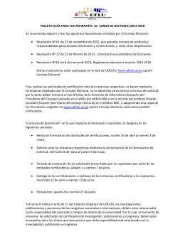 FOLLETO GUÍA PARA LOS ASPIRANTES AL CARGO DE RECTOR(A)