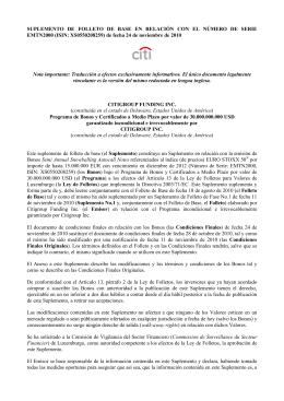 SUPLEMENTO DE FOLLETO DE BASE EN RELACIÓN