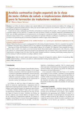 Análisis contrastivo (inglés-español) de la clase de texto