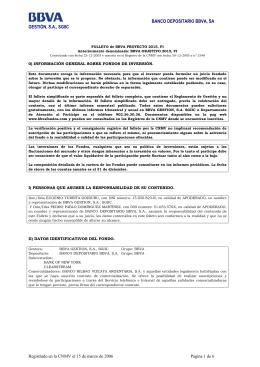 FOLLETO de BBVA PROYECTO 2015, FI