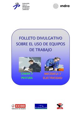 folleto divulgativo sobre el uso de equipos de trabajo