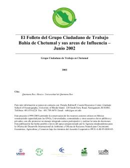 El Folleto del Grupo Ciudadano de Trabajo Bahia de Chetumal y