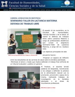 Seminario-Taller En Lactancia Materna Defensa de Trabajo Libre
