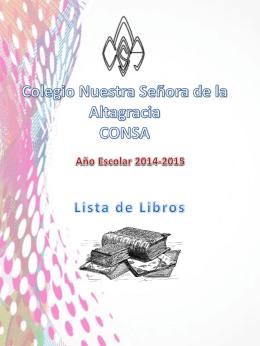 Lista de Libros 2014-2015 - Colegio Nuestra Señora de la Altagracia