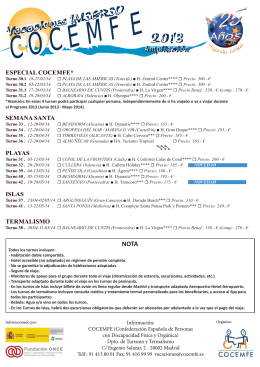 Ampliación Programa de Vacaciones COCEMFE 2013