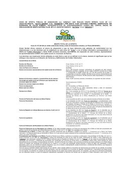 """AVISO DE OFERTA PÚBLICA DE ADQUISICIÓN (LA """"OFERTA"""
