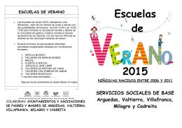 folleto escuelas de verano 2015